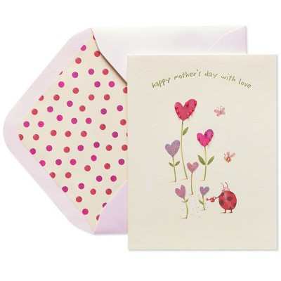Papyrus Ladybug Watering Heart Flowers Mothers Day Greeting Card