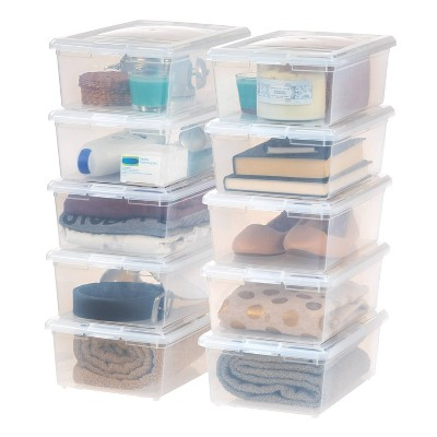 IRIS 10pk 6qt Modular Storage Box Clear