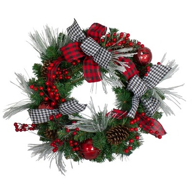 Northlight Plaid and Houndstooth and Red Berries Artificial Christmas Wreath - 24-Inch, Unlit