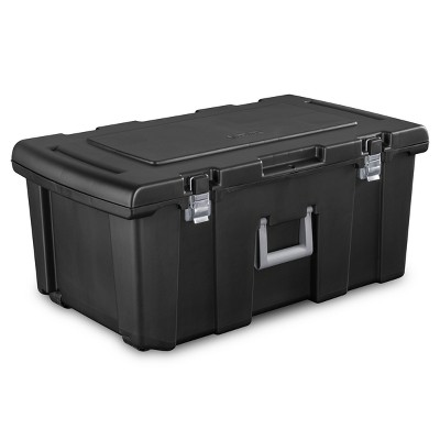 Gentil Sterilite Wheeled Foot Locker Black With Chrome Hinges And Latches