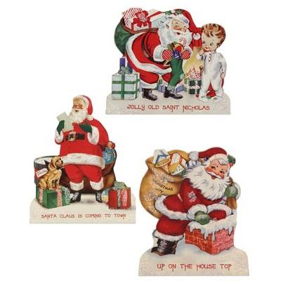 "Christmas 9.5"" Retro Christmas Dummy Boards. Santa Toys Puppy Presents  -  Decorative Figurines"