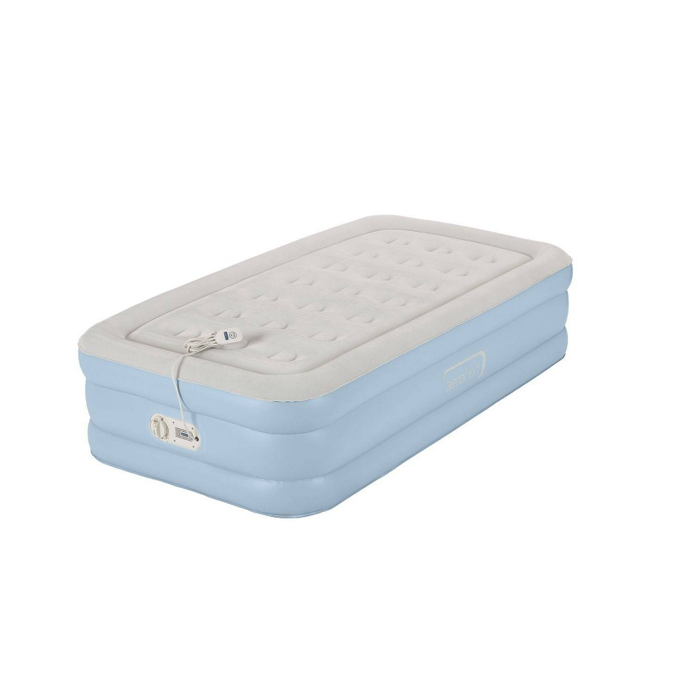 Image of Aerobed One-Touch Comfort Airbed with built in Pump Twin Air Mattress - Lite Blue