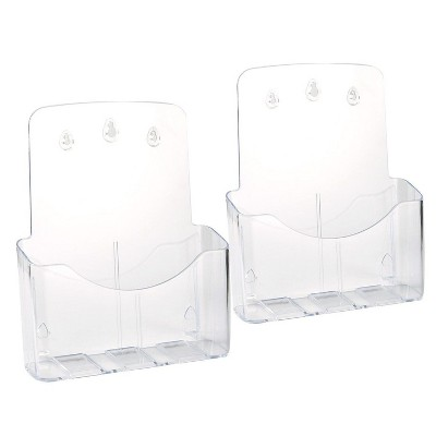Juvale 2 Pack Clear Acrylic Brochure Holders for Pamphlet, Booklets, Notepads, Journals, Magazine