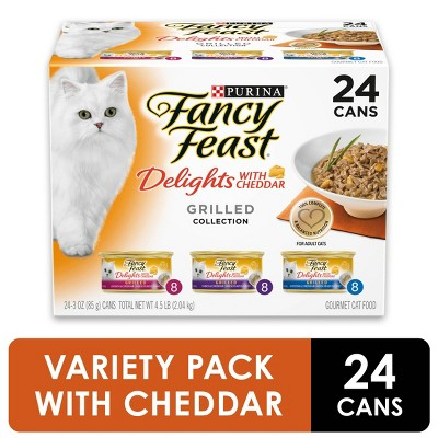 Purina Fancy Feast Delights with Cheddar Grilled Collection Gourmet Wet Cat Food - 3oz/24ct Variety Pack