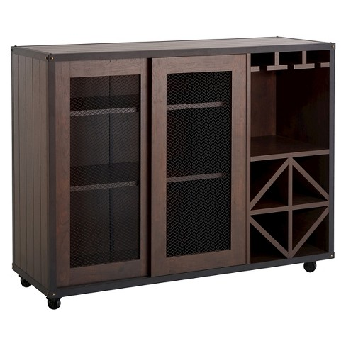 Carmelia Industrial Inspired Sliding Door Buffet Vintage Walnut - HOMES: Inside + Out - image 1 of 3