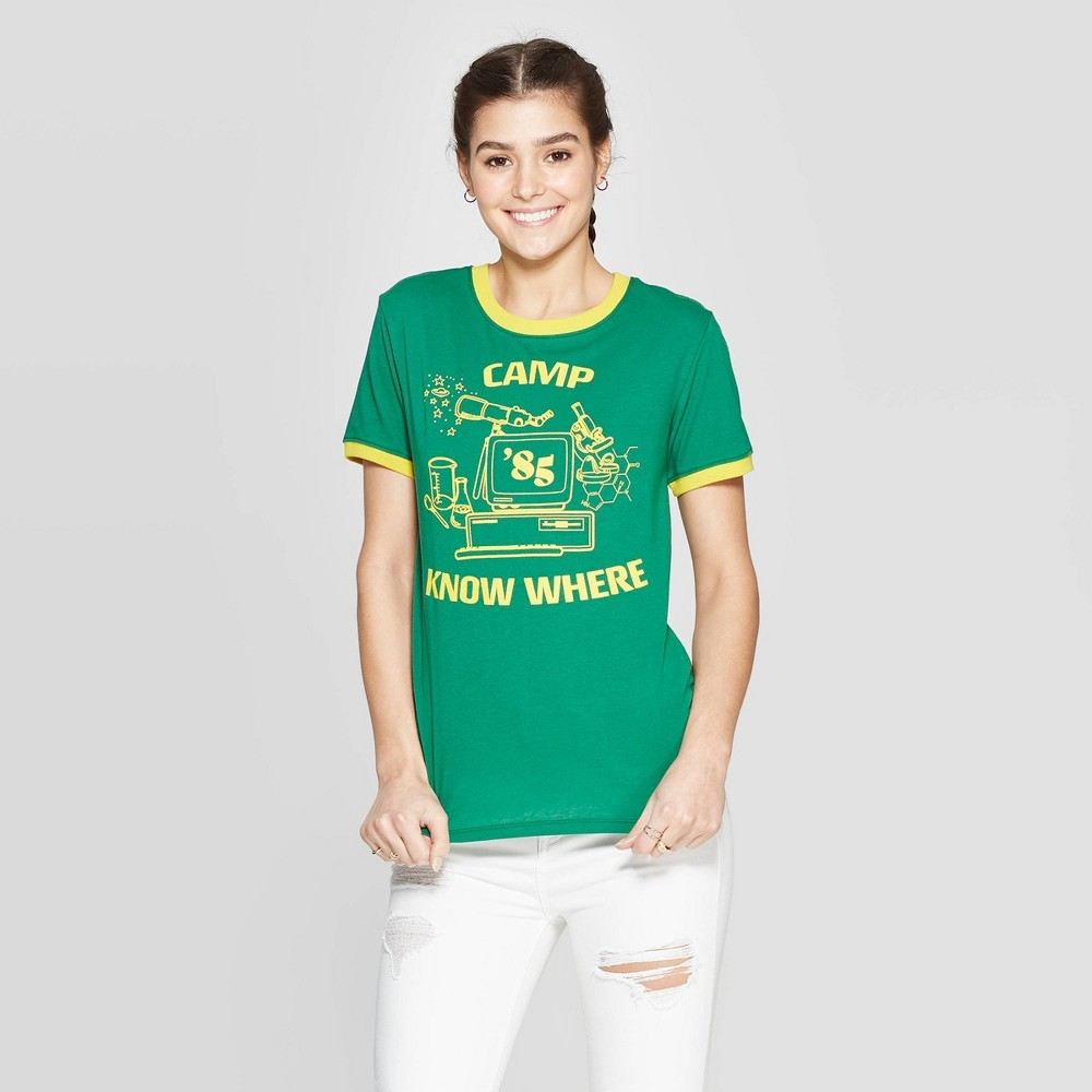 Image of Women's Stranger Things Camp Know Where Short Sleeve T-Shirt (Juniors') - Green L, Size: Large