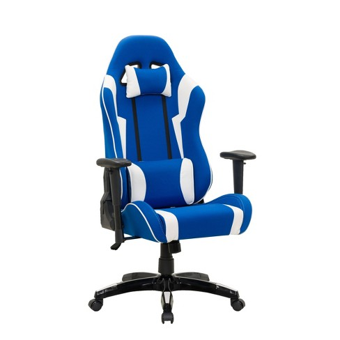 Adjustable High Back Ergonomic Gaming Chair Blue/White - CorLiving