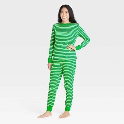 Women's Striped 100% Cotton Matching Family Pajama Set - Green