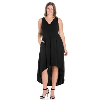 24seven Comfort Apparel Women's Plus High Low Party Dress