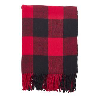 "50""x60"" Buffalo Plaid Check Pattern with Tassel Trim Throw Blanket Red - SARO"