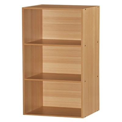 Hodedah HID23 High Quality 3 Shelf Home, Office, and School Organization Storage 35.67 Inch Tall Slim Bookcase Cabinets to Display Decor, Beech