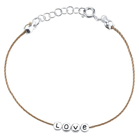 Sterling Silver Love With Light Brown Cotton Cord Bracelet - image 1 of 2