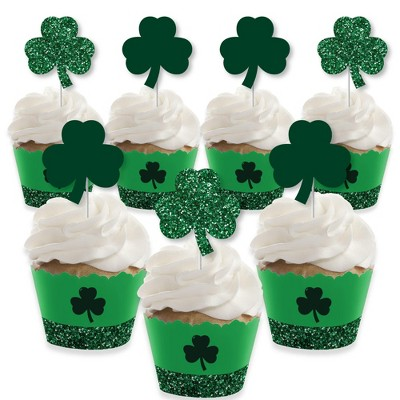 Big Dot of Happiness St. Patrick's Day - Cupcake Decoration - Saint Patty's Day Party Cupcake Wrappers and Treat Picks Kit - Set of 24