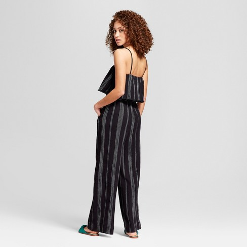 a78283287a3 Women s Striped Jumpsuit - A New Day™ Black White M   Target