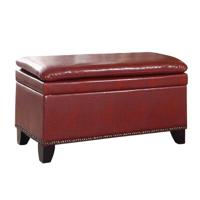 "Double Cushion Storage Bench 16.75"" - Red - Ore International"