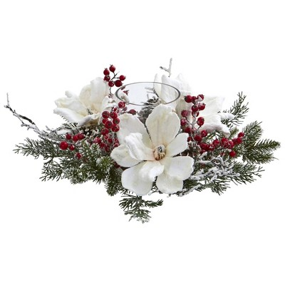 "6.5"" x 17"" Artificial Frosted Magnolia and Berry Plant Arrangement Candelabrum - Nearly Natural"
