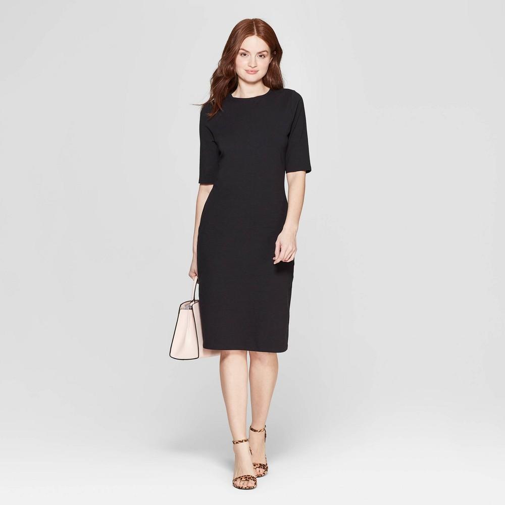 Women's 3/4 Sleeve Crewneck Knit Dress - A New Day Black XS