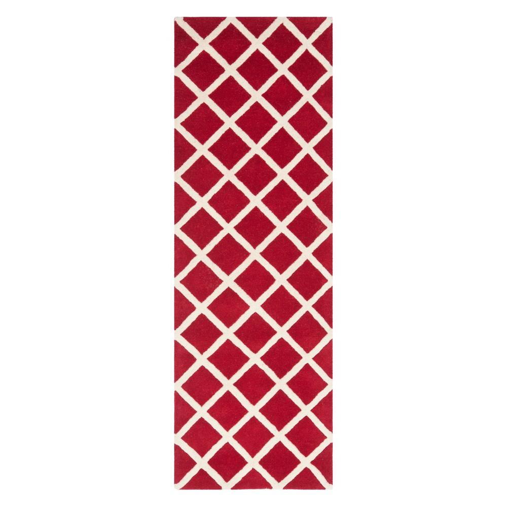 23X7 Geometric Tufted Runner Red/Ivory - Safavieh Discounts