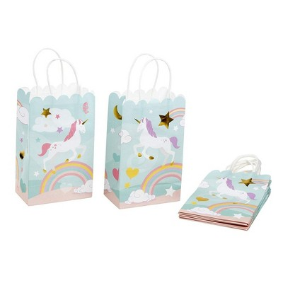 Paper Gift Bag - 24-Pack Rainbow Unicorn Party Favor Bags, Paper Treat Bags for Kids Birthday, Light Blue with Gold Foil Accent, 5.5 x 8.6 x 3 Inches