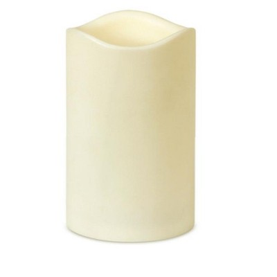 """Brite Star 6.75"""" Ivory Battery Operated Flameless LED Lighted Flickering Wax Christmas Pillar Candle"""