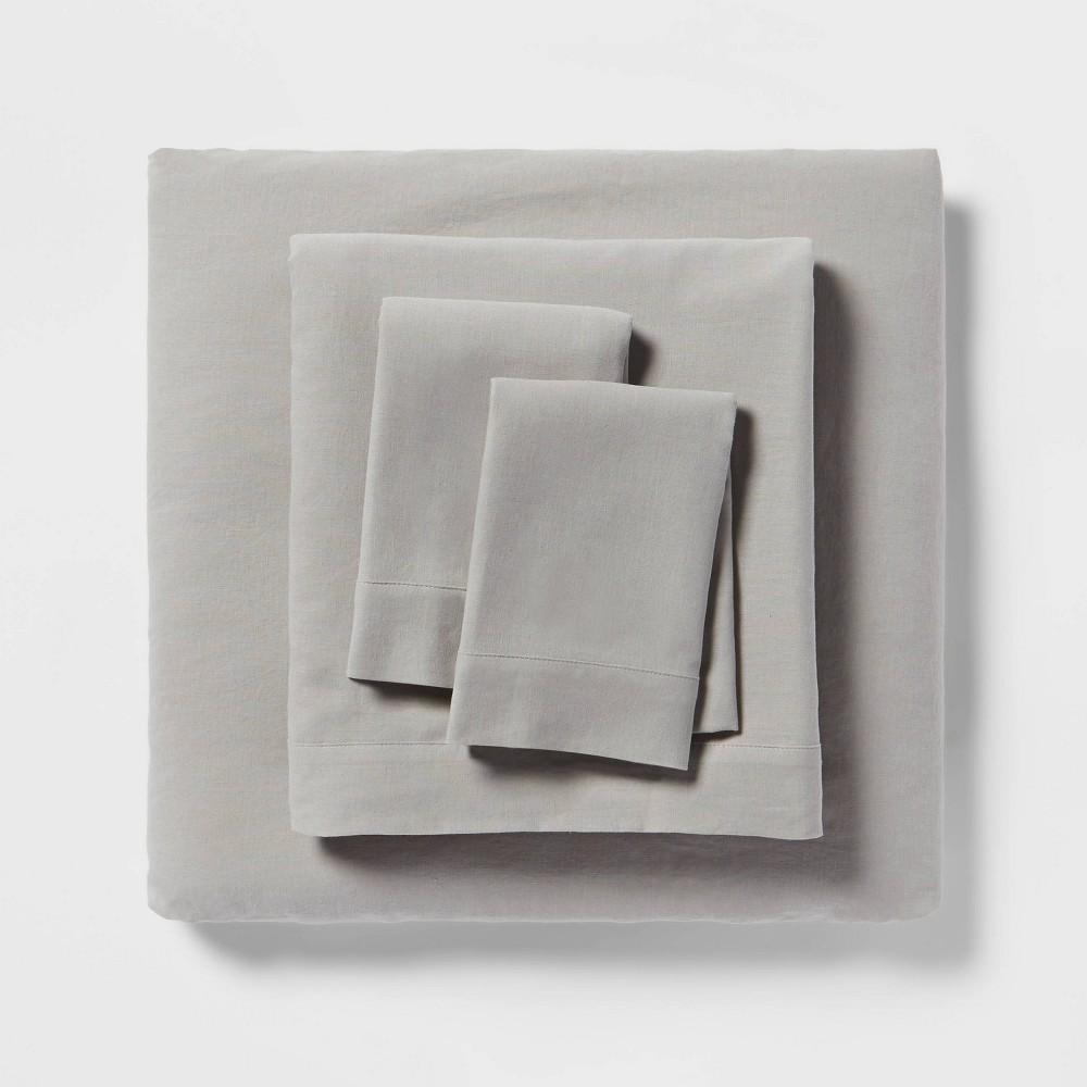 Linen Blend Sheet Set Full Gray Threshold 8482