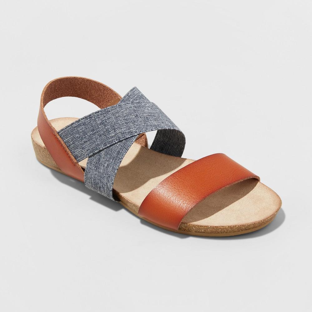 Women's Kerryn Wide Width Footbed Sandals - Universal Thread Cognac (Red) 6.5W, Size: 6.5Wide