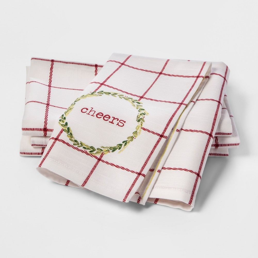 4pc Assorted Placed Typography Napkins Cream/Red - Threshold