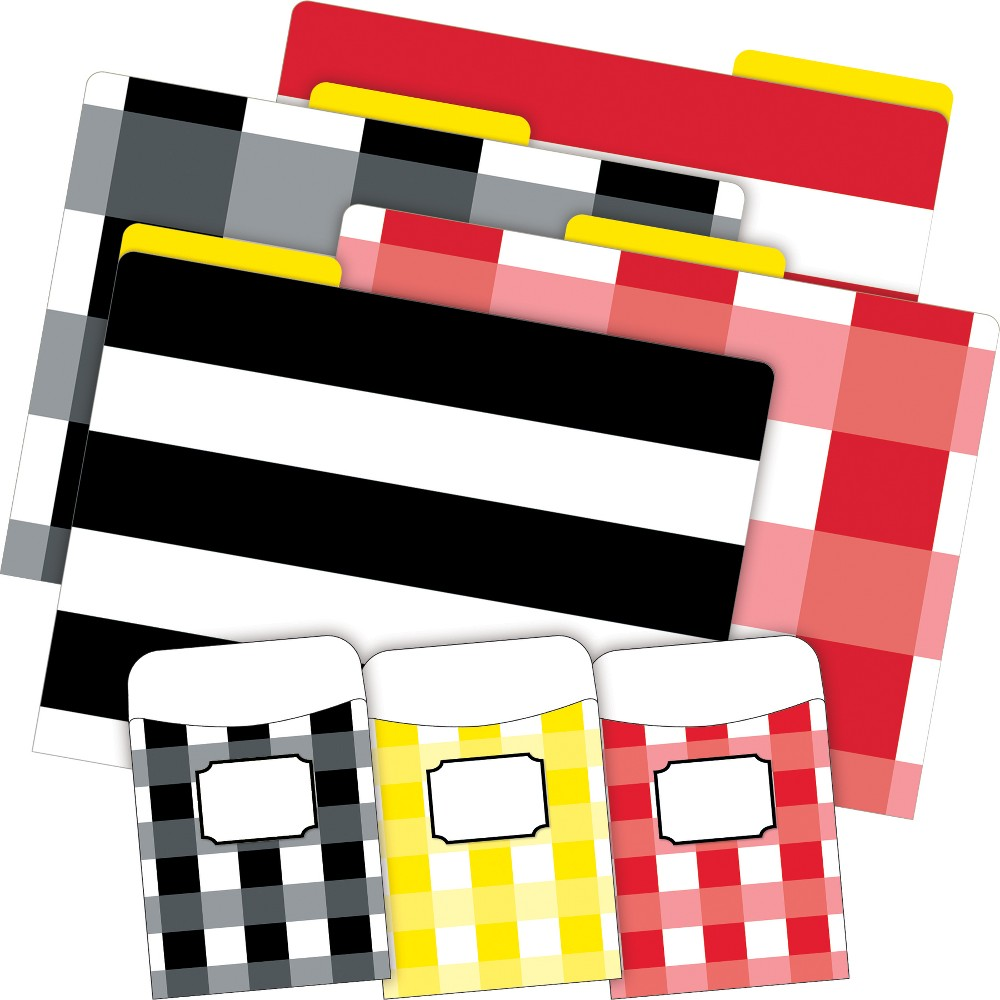 Barker Creek 12 Letter-Size File Folders & 30 Adhesive Pockets Set - Buffalo Plaid, White