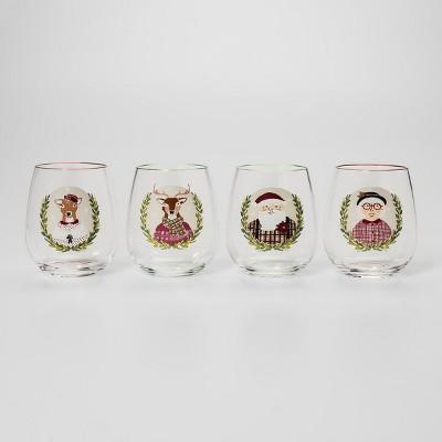 17oz 4pk Plastic Holiday Icons Stemless Wine Glasses - Threshold™