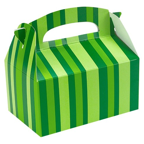 8 ct Green Striped Favor Boxes - image 1 of 1