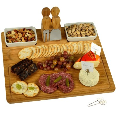Picnic at Ascot Large Bamboo Cheese Board/Charcuterie Platter with Tools, Bowls, & Markers