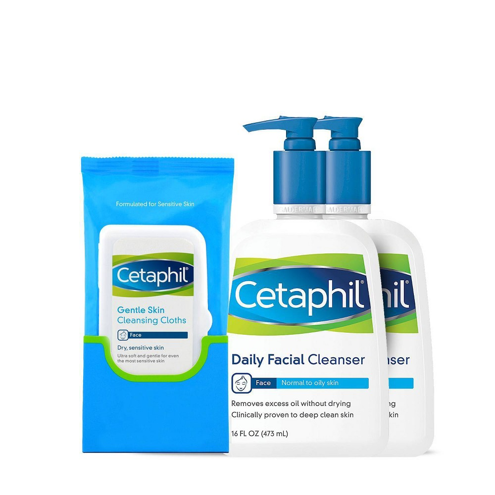 Image of Cetaphil Daily Facial Cleanser with Wipes - 2ct/16 fl oz Each