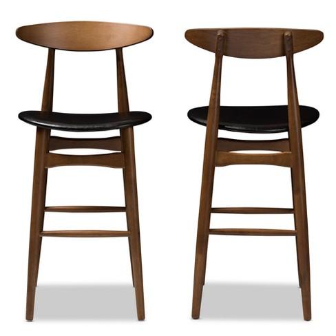 Set Of 2 Baxton Studio Flora Mid Century Modern Walnut Finished Wood Upholstered Bar Stools Black Target