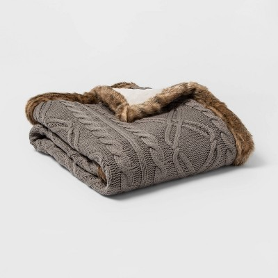 Cable Knit with Faux Mink Reverse and Faux Fur Trim Throw Blanket Gray/Brown - Threshold™
