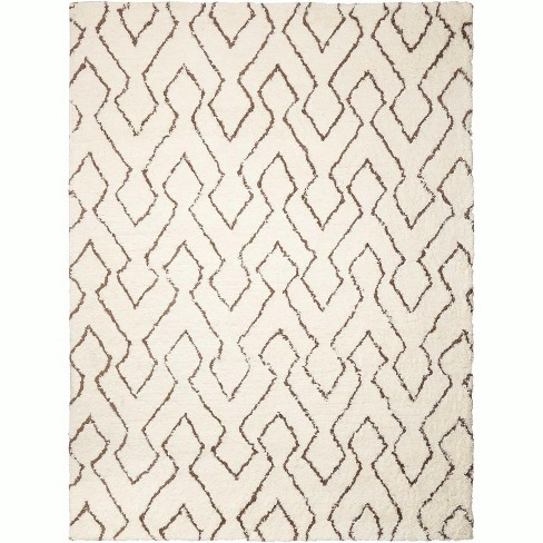 Nourison Galway Ivory/Chocolate Shag Area Rug - image 1 of 4