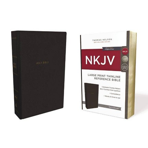 NKJV, Thinline Reference Bible, Large Print, Imitation Leather, Black, Red Letter Edition, Comfort Print - image 1 of 1