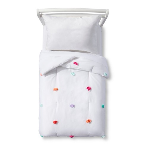 White and Pom Pom Toddler Comforter - Pillowfort™ - image 1 of 1