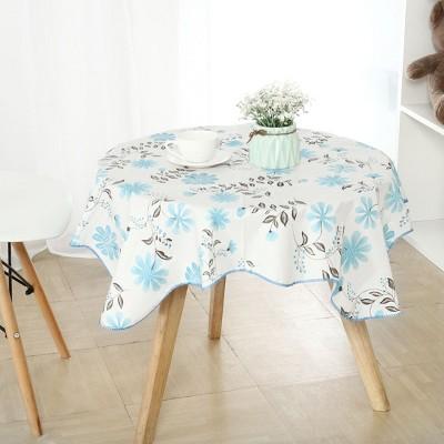 "35""x35"" Square Vinyl Water Oil Resistant Printed Tablecloths Blue Flower - PiccoCasa"