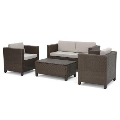 Puerta 4pc Wicker Chat Set & Cover - Beige/Brown/Ceramic Gray - Christopher Knight Home