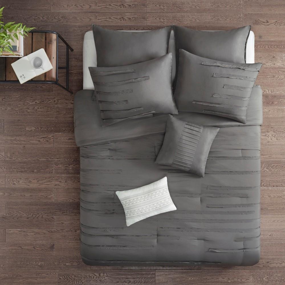 8pc Queen Jaine Comforter Set Gray