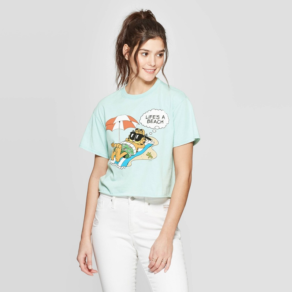 5392aacabdd0 Womens Garfield Short Sleeve Cropped Graphic T Shirt Mighty Fine Juniors  Teal XL Brown