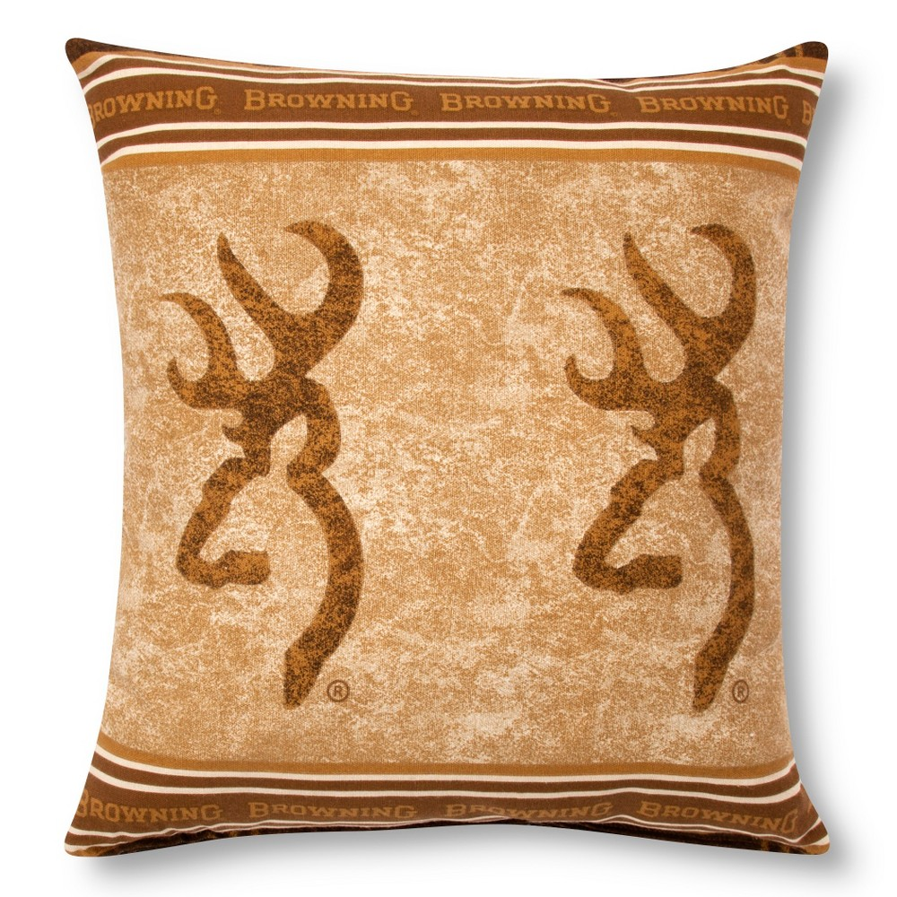 "Image of ""Brown Buckmark Logo Square Throw Pillow (18""""x18"""") - Browning"""