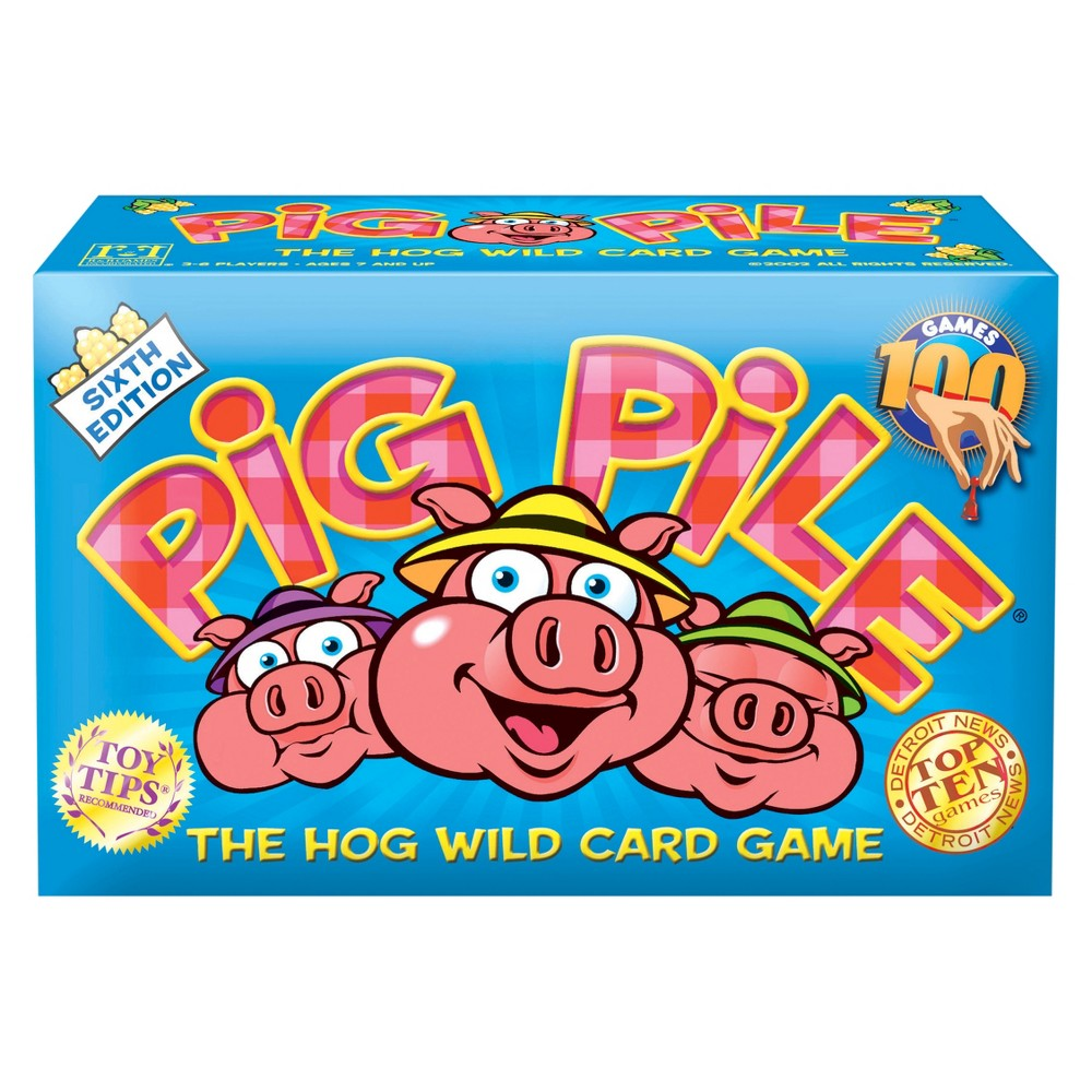 R and R Games Pig Pile Game Sooiiee, what a great time! It's a family card game that will have you yelling  Hogwash!  (really, that's part of the game) and throwing down cards with swine-like speed. Your goal is to get rid of your cards so you can collect the little piggy figurines. Sound simple? In a pig's eye! This action-packed game has more twists than a piggy's tail. Comes with 80 cards, 40 pink pigs and illustrated, multi-lingual instructions. For 3 to 6 players. A 2002 Games Magazine Games 100honoree in the Family Card Games category. Gender: Unisex.