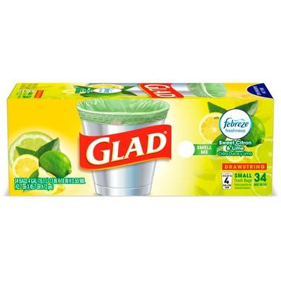 Glad Small Kitchen Drawstring Trash Bags + OdorShield Green Trash Bags - Febreze Sweet Citron & Lime - 4 Gallon - 34ct