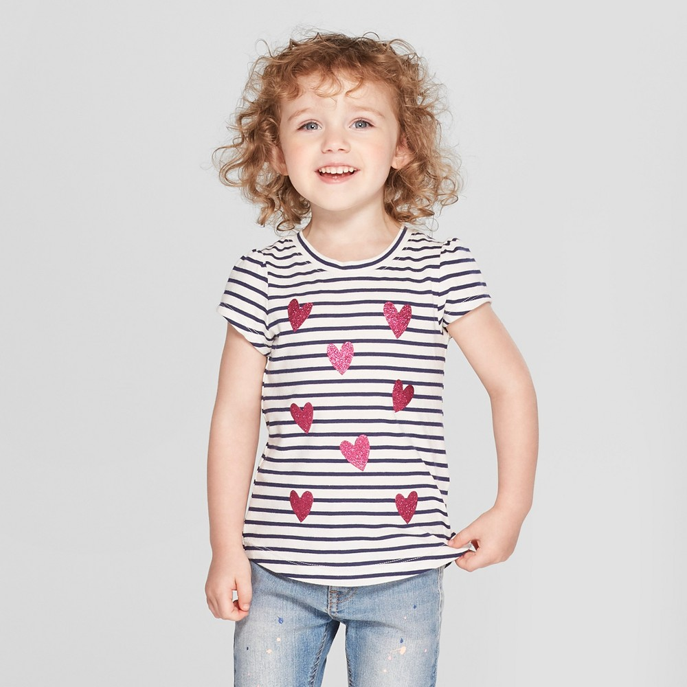 Toddler Girls' Striped Hearts Short Sleeve T-Shirt - Cat & Jack Almond Cream/Black 4T, White