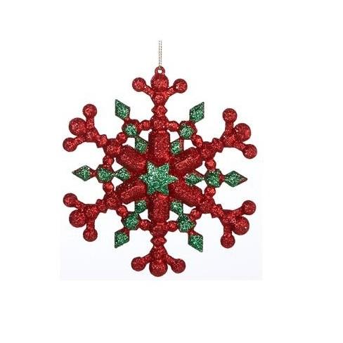 "Kurt S. Adler 5"" Glitter Six Pointed Star Snowflake Christmas Ornament - Green/Red - image 1 of 1"