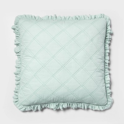 Euro Vintage Washed Ruffle Throw Pillow Mint - Threshold™