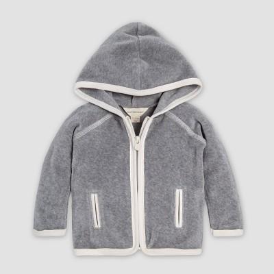 Burt's Bees Baby® Velour Organic Cotton Front Zip Overcoat - Gray 0-3M