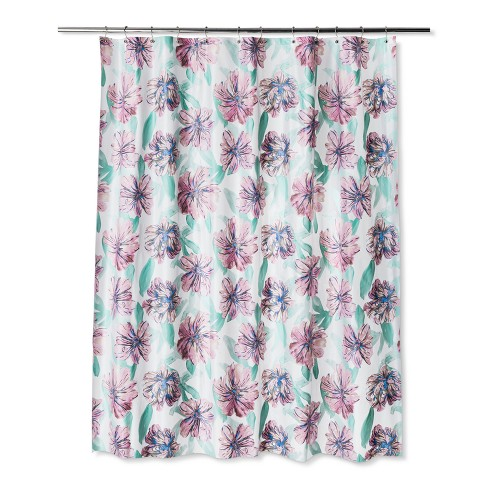 Floral Shower Curtain Paradise Pink