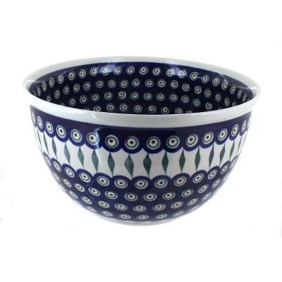 Blue Rose Polish Pottery Peacock Large Mixing Bowl